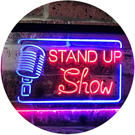 AdvpPro 2C Stand-up Comedy Show Live Dual Color LED Neon Sign Blue & Red 300mm x 210mm st6s32-i3097-br