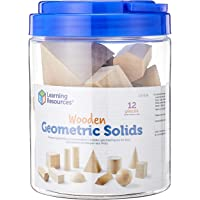 """Learning Resources LER0120 Wooden Geometric Solids (12 Piece),6 1/4"""" x 6 1/4"""" x 5 1/4"""","""