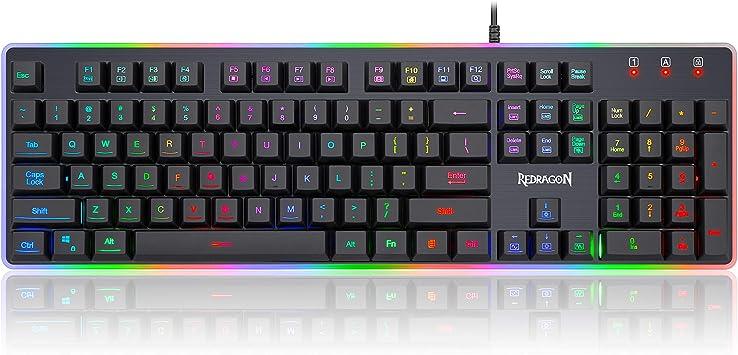 Redragon K509-RGB Teclado para juegos de PC de 104 teclas silencioso, de perfil bajo, teclado RGB retroiluminado, Dyaus Pro con tacto mecánico para ...