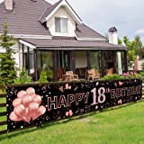 Pimvimcim Happy 18th Birthday Banner Decorations for Girls - Large 18th Birthday Party Sign Backdrop - Rose Gold 18 Year Old