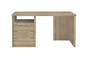 Schreibtisch Unterschrank Holz ~ Newface schreibtisch mit schubkästen links holz sonoma eiche