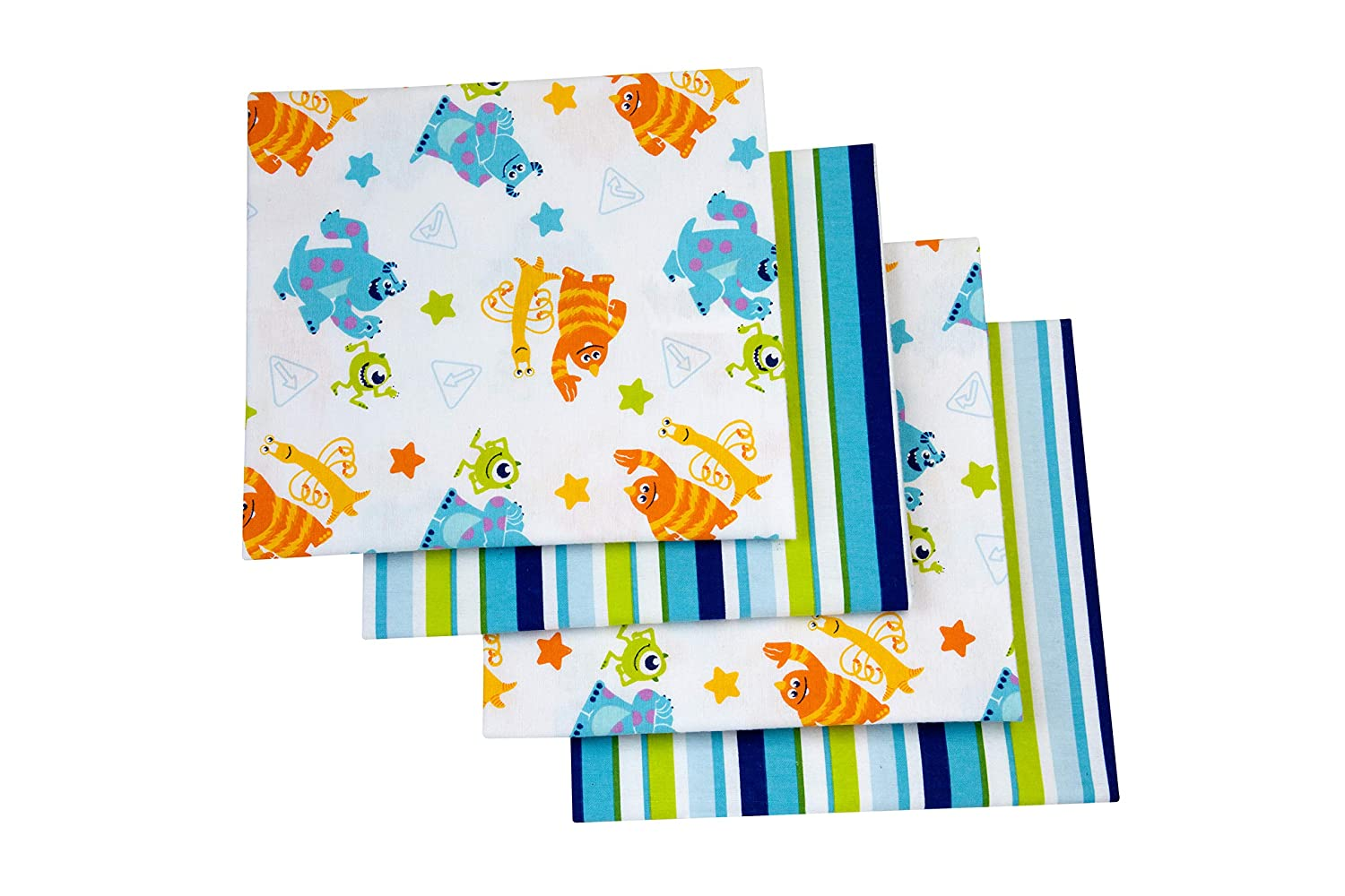 Disney Monsters On The Go 4 Piece Flannel Receiving Baby Blankets, Blue/Green/Orange/Yellow