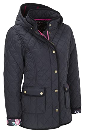 Vedoneire Womens Quilted Jacket 5038 Navy Blue Padded Coat At