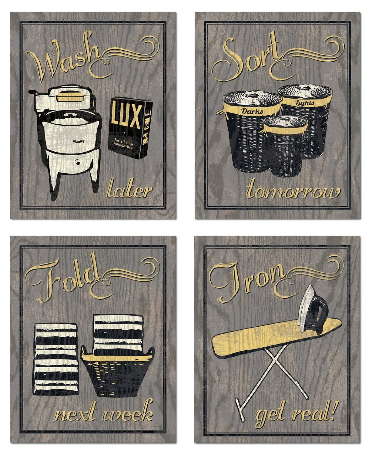 Trendy & Extremely Popular Humorous Laundry Room Wash Sort Fold Iron Set; Four 8x10in Poster Prints. Grey/Yellow (Printed on Paper, not wood)