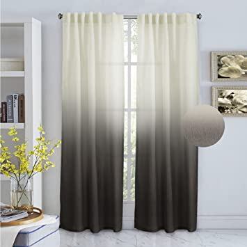 TURQUOIZE Ombre Semi Sheer Curtains, Spring Drapes, Back Tab/ Rod Pocket  Linen Filmy