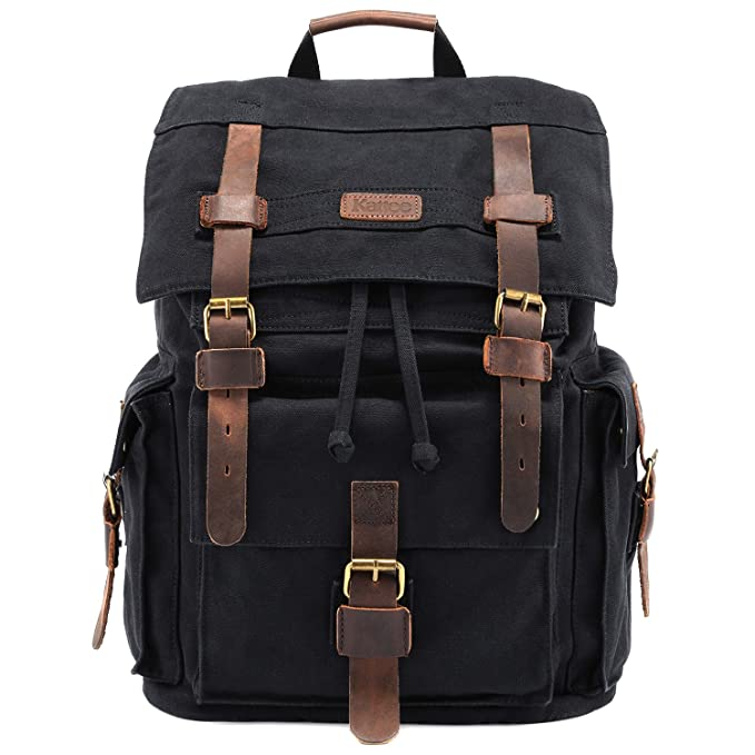 3e515595c Amazon.com: Kattee Men's Canvas Leather Hiking Travel Backpack ...