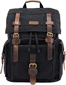 "Kattee Men's Leather Canvas Backpack Large School Bag Travel Rucksack for 17"" Laptop (Black)"