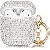 Case for Airpods, Filoto Cute AirPod Accessories Cases Cover Bling Crystal TPU Protective Case with Lobster Clasp Keychain fo