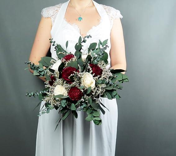 Amazoncom Burgundy Boho Wedding Bouquet Dried Flowers Eucalyptus