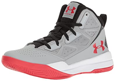 Under Armour Mens Grade School Jet Mid Basketball Shoe Overcast Gray (941)/White