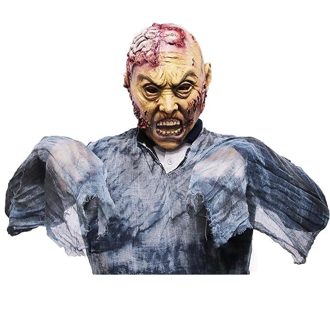 molezu Máscara de Zombi, Máscara de látex para Adultos Cerebros, Novedad de Halloween Máscara de látex Completa sobre la Cabeza, Máscara de Terror de ...