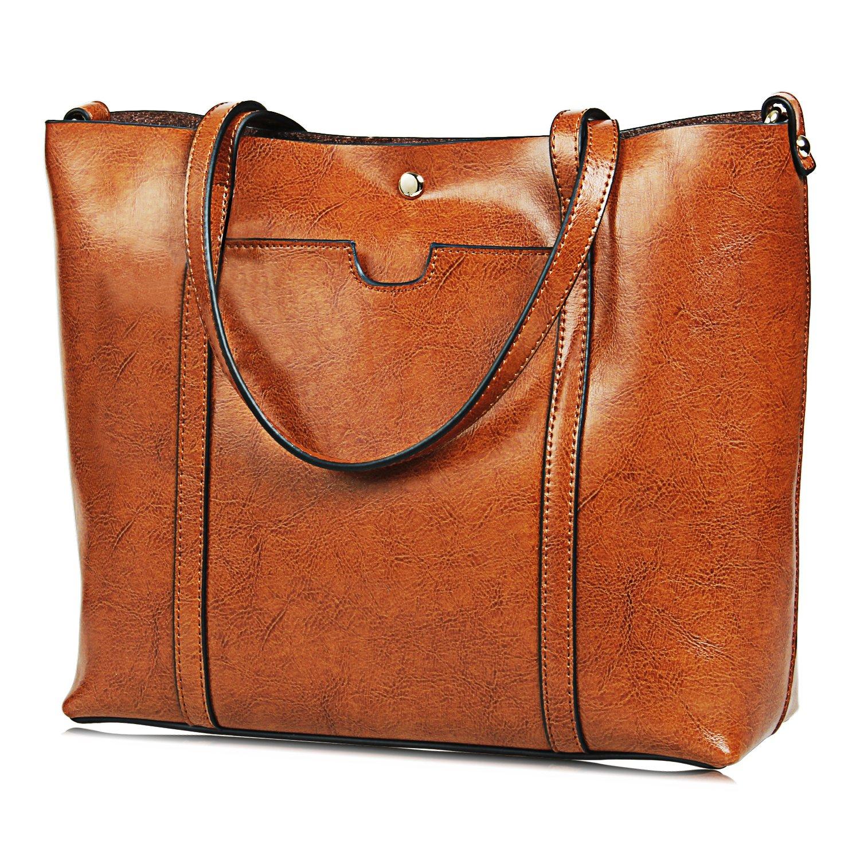 jundunレディースバッグカジュアルヴィンテージショルダーバッグトートバッグ財布大容量バッグ B0725WFL8Y light-brown