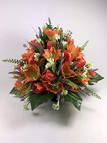 Gorgeous Large Flat Back Artificial Flower Grave Arrangement In Rich Shades Of Orange And Red Amazon Co Uk Handmade
