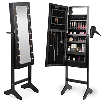 Beautify Mirrored Jewelry Makeup Armoire With LED Lights Floor Standing  Organizer Cabinet With Internal And External