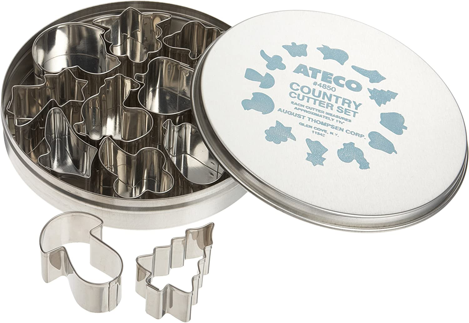 Ateco Plain Edge Country Life Cutters in Assorted Shapes, Stainless Steel, 12 Pc Set