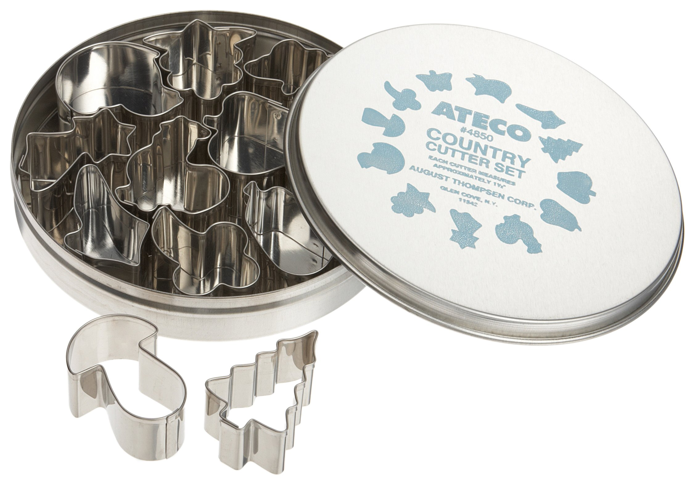 Ateco 4850 Plain Edge Country Life Cutters in Assorted Shapes, Stainless Steel, 12 Pc Set
