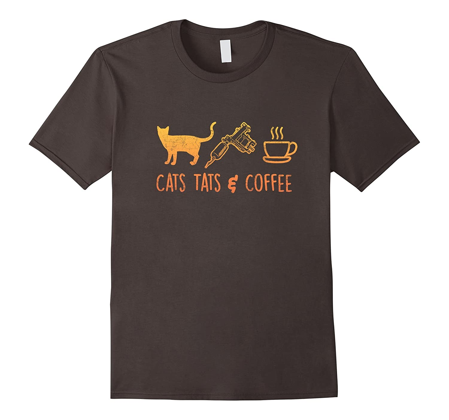 """""""Cats Tats and Coffee"""" Funny Cat Lover Gifts Tattoo T Shirt"""