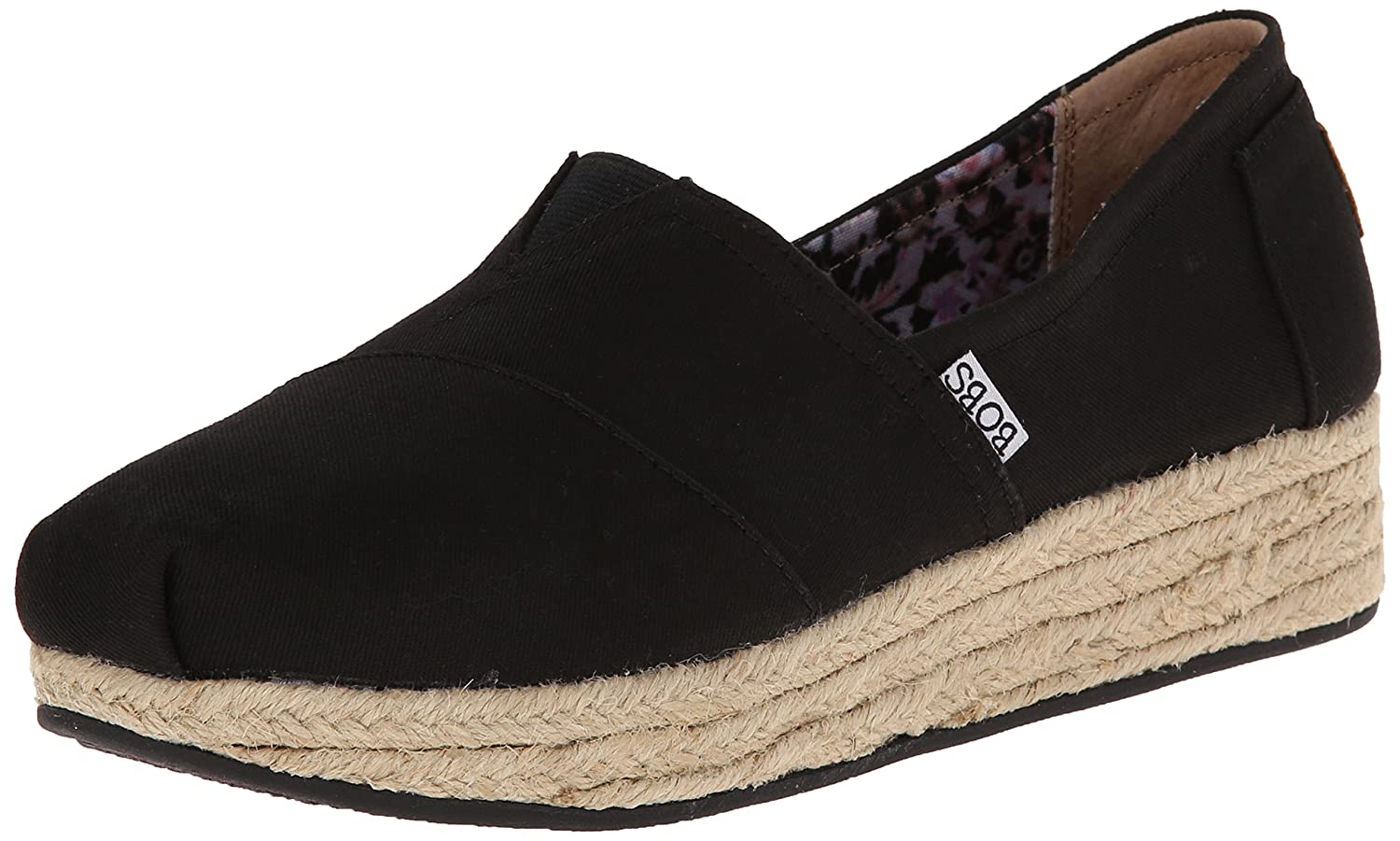 Skechers BOBS from Women's Highlights Flexpadrille Wedge B00M93JFUC 8 M US|Black Canvas