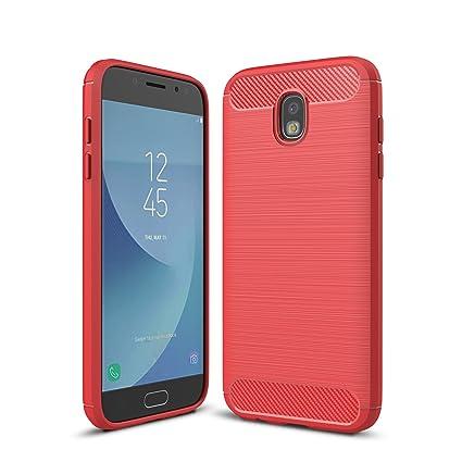 Funda Samsung Galaxy J5 2017,Carcasa Samsung Galaxy J5 2017–KuGi Slim Soft Silicon Shockproof Caso de lujo con cubierta de textura de fibra de carbono ...