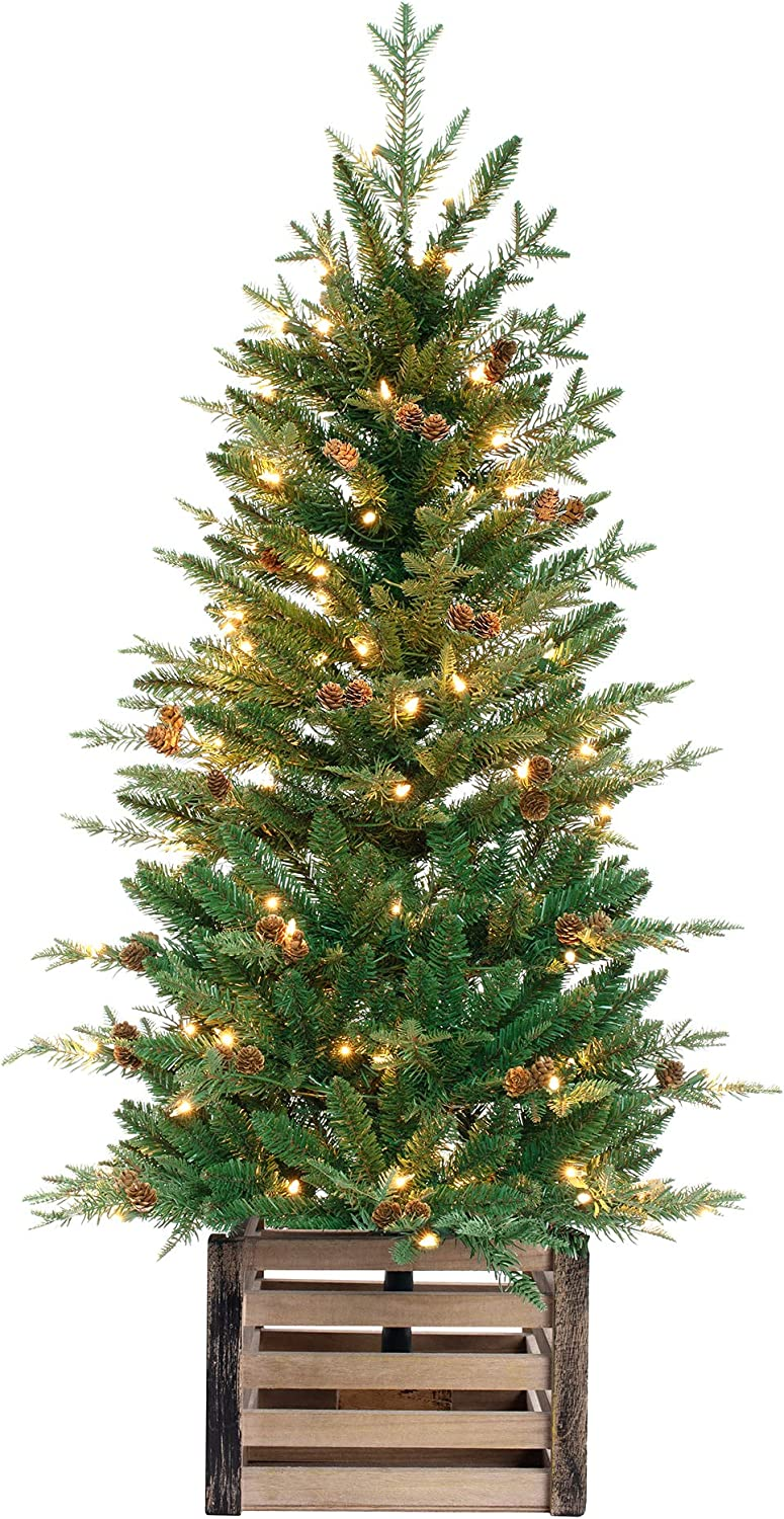 Haute Decor 4 Foot Pre-lit Asheville Artificial Fir Christmas Potted Tree with 100 Clear Incandescent Lights