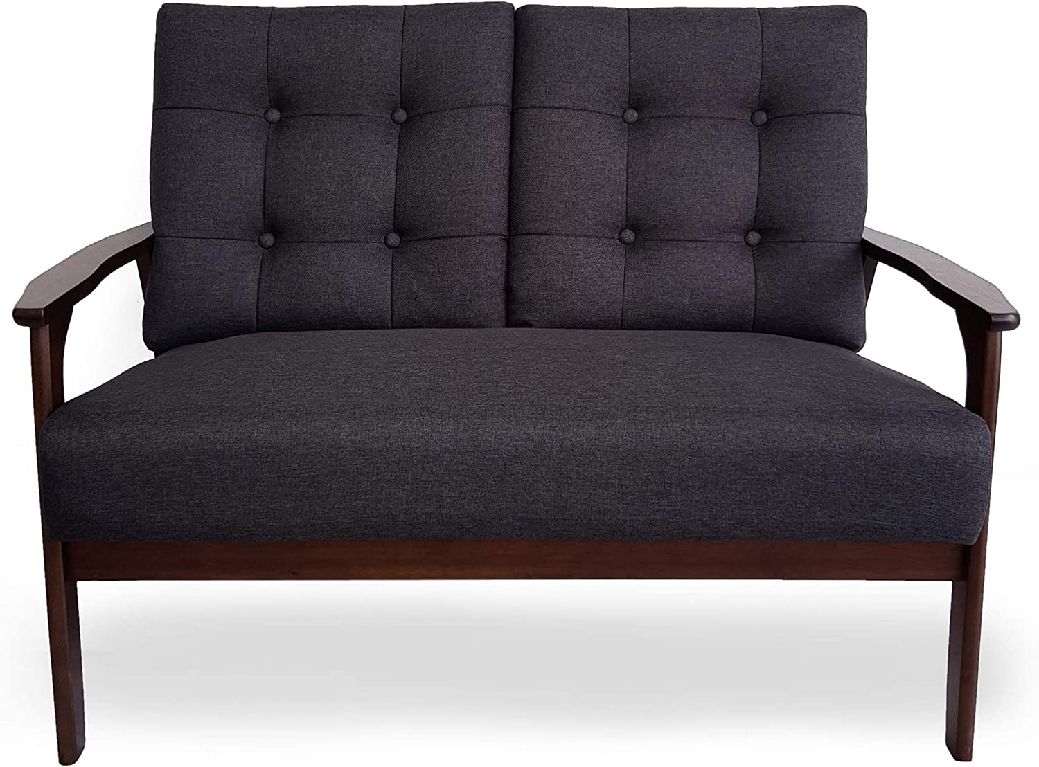 Christopher Knight Home Athena Mid Century Waffle Stitch Tufted Accent Loveseat with Rubberwood Legs-Black and Walnut Finish