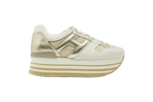 HOGAN MAXI H222 Scarpe Donna HXW2830U352IGA0L0S Sneakers Pelle Bianco Oro