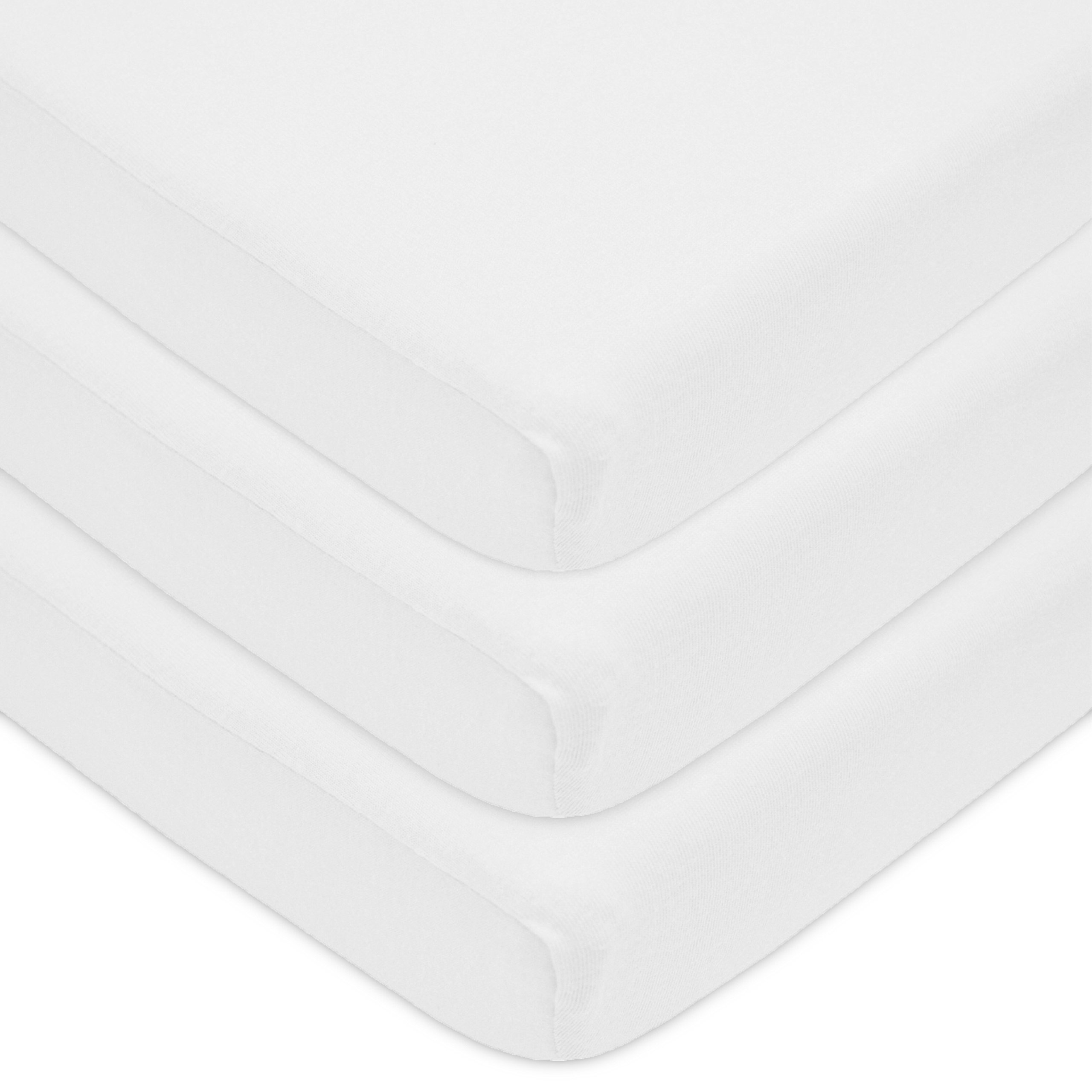 American Baby Company 3 Pack 100% Natural Cotton Jersey Knit Fitted Pack N Play Playard Sheet, White, Soft Breathable, for Boys and Girls by American Baby Company
