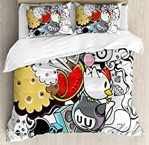 Ambesonne Indie Duvet Cover Set, Animal and Food Themed Composition Crazy Doodle Panda Bird Cat Watermelon, Decorative 3 Piece Bedding Set with 2 Pillow Shams, Queen Size, Grey Red