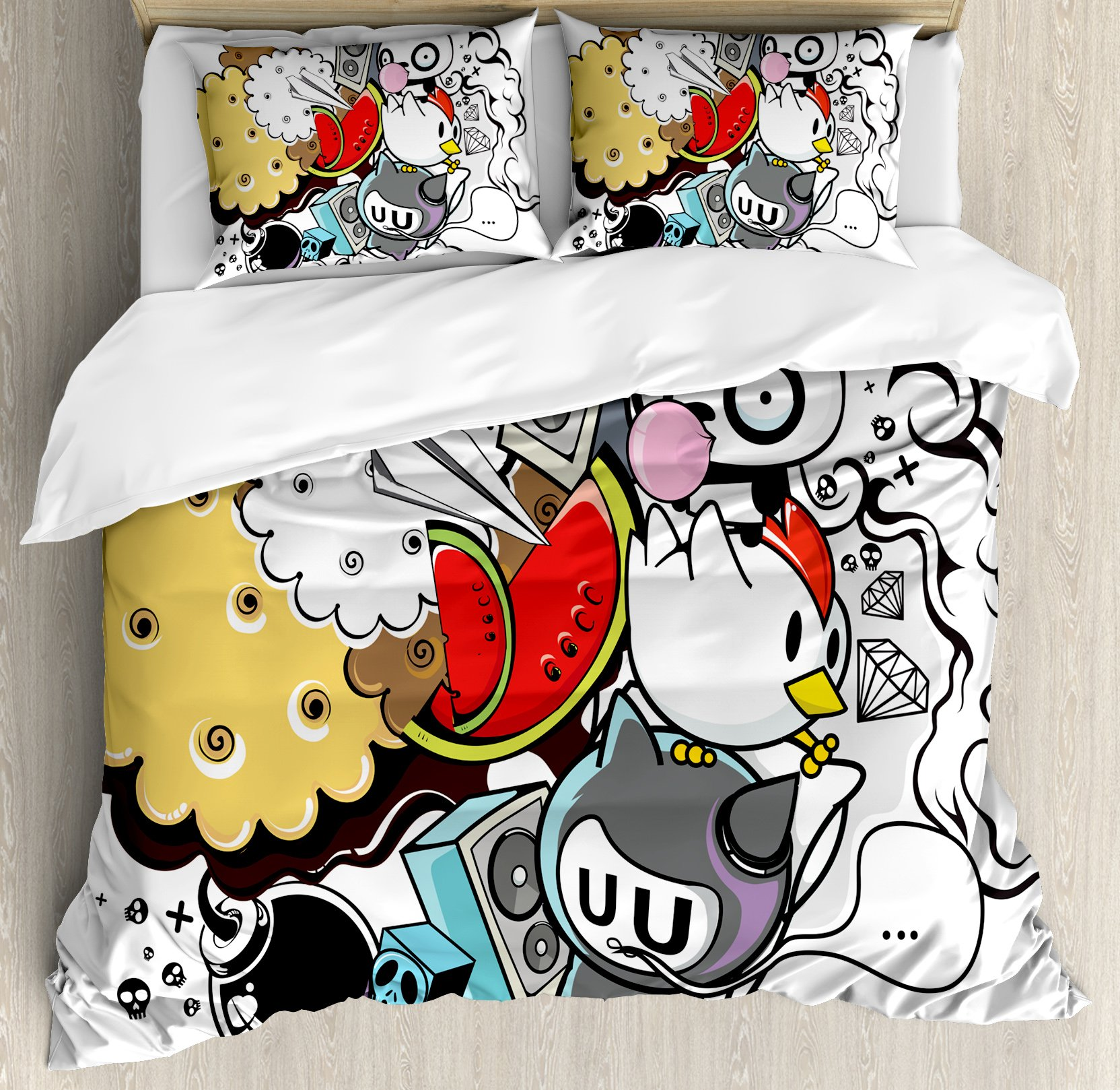 Indie Queen Size Duvet Cover Set by Ambesonne, Animal and Food Themed Composition Crazy Festive Doodle Panda Bird Cat Watermelon, Decorative 3 Piece Bedding Set with 2 Pillow Shams, Multicolor