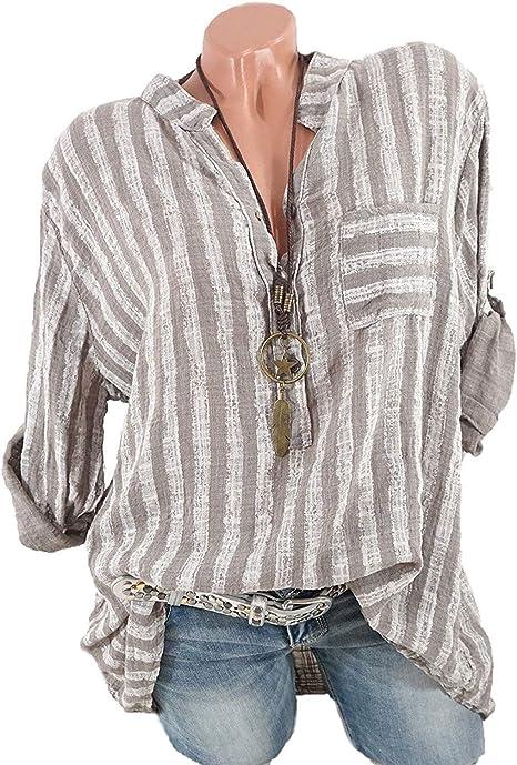 Damen V-Ausschnitt Langarm Hemd Bluse Freizeit Locker Oberteil Top Shirt 48