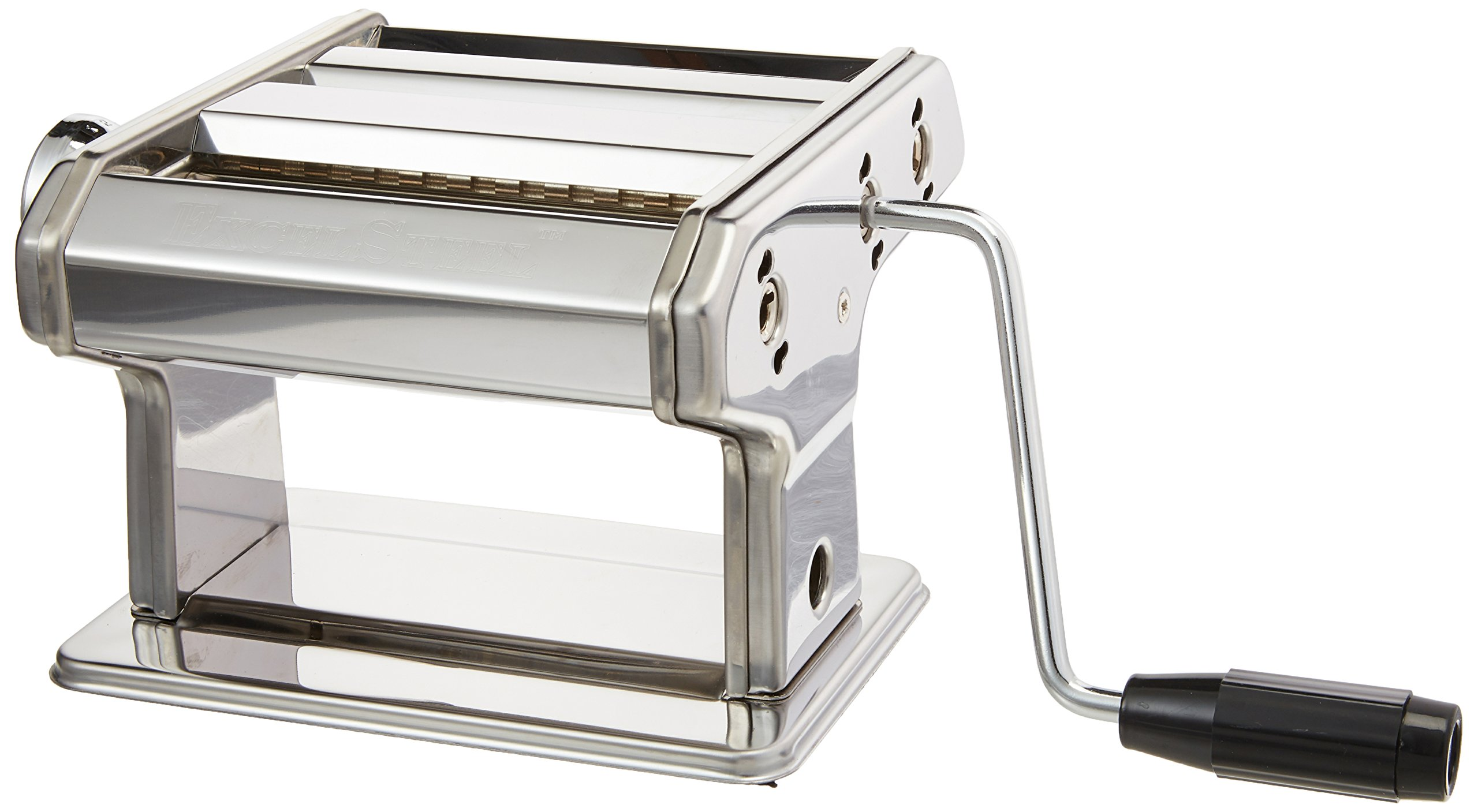 ExcelSteel Professional Stainless Steel Pasta Machine W/Adjustable Thickness Settings – Makes Perfect Spaghetti or Fettuccini, Includes Hand Crank, and Instructions
