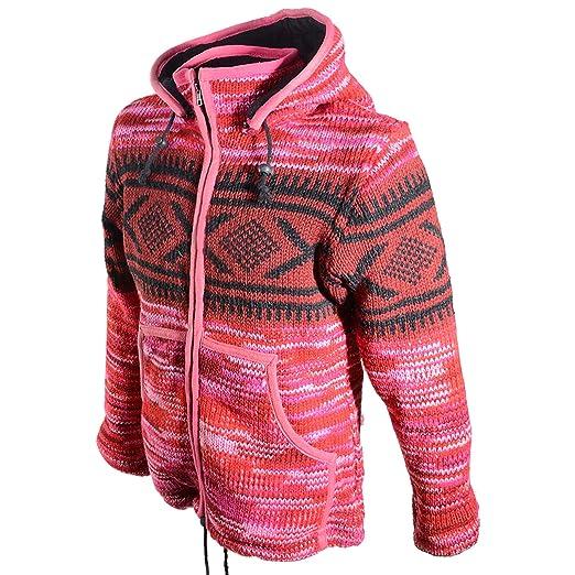 7d15ddfb11 Kunst und Magie Hippie Goa Nepal Strickjacke Poncho Woll-Pullover in Pink  mit Abnehmbarer Zipfelkapuze: Amazon.de: Bekleidung