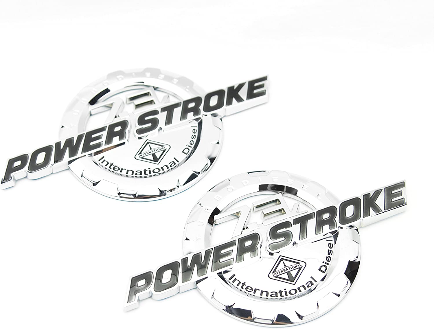 2 NEW CHROME FORD CUSTOM 7.3L F250 F350 POWERSTROKE INTERNATIONAL DOOR BADGES EMBLEMS SET PAIR
