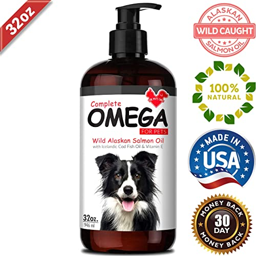 Wild Alaskan Salmon Oil for Dogs Cats for Soft Shiny Coats, Dry Skin, Itching, Shedding Allergies – Boosts Immune Heart – Pure Natural Omega 3 Fish Oil for Dogs Pets Liquid Supplement