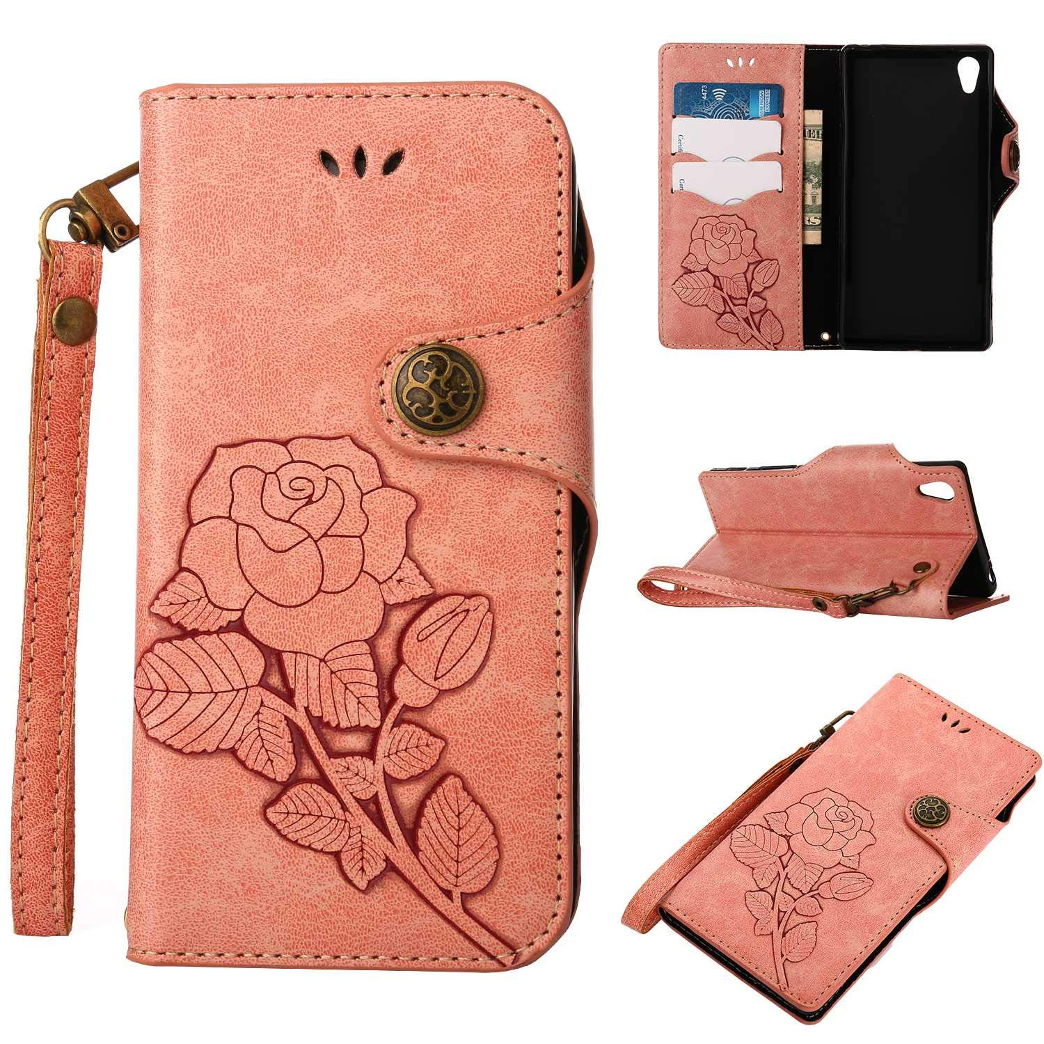 Sony Xperia Z5 Protective Case, UNEXTATI Vintage Rose Pattern Stand PU Leather Flip Cover, Wallet Case Cover with Hand Strap for Sony Xperia Z5 (Pink)