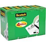 Scotch Magic Matte Finish Tape, 3/4 x 1000 Inches, Boxed, 4 Rolls (810K4)