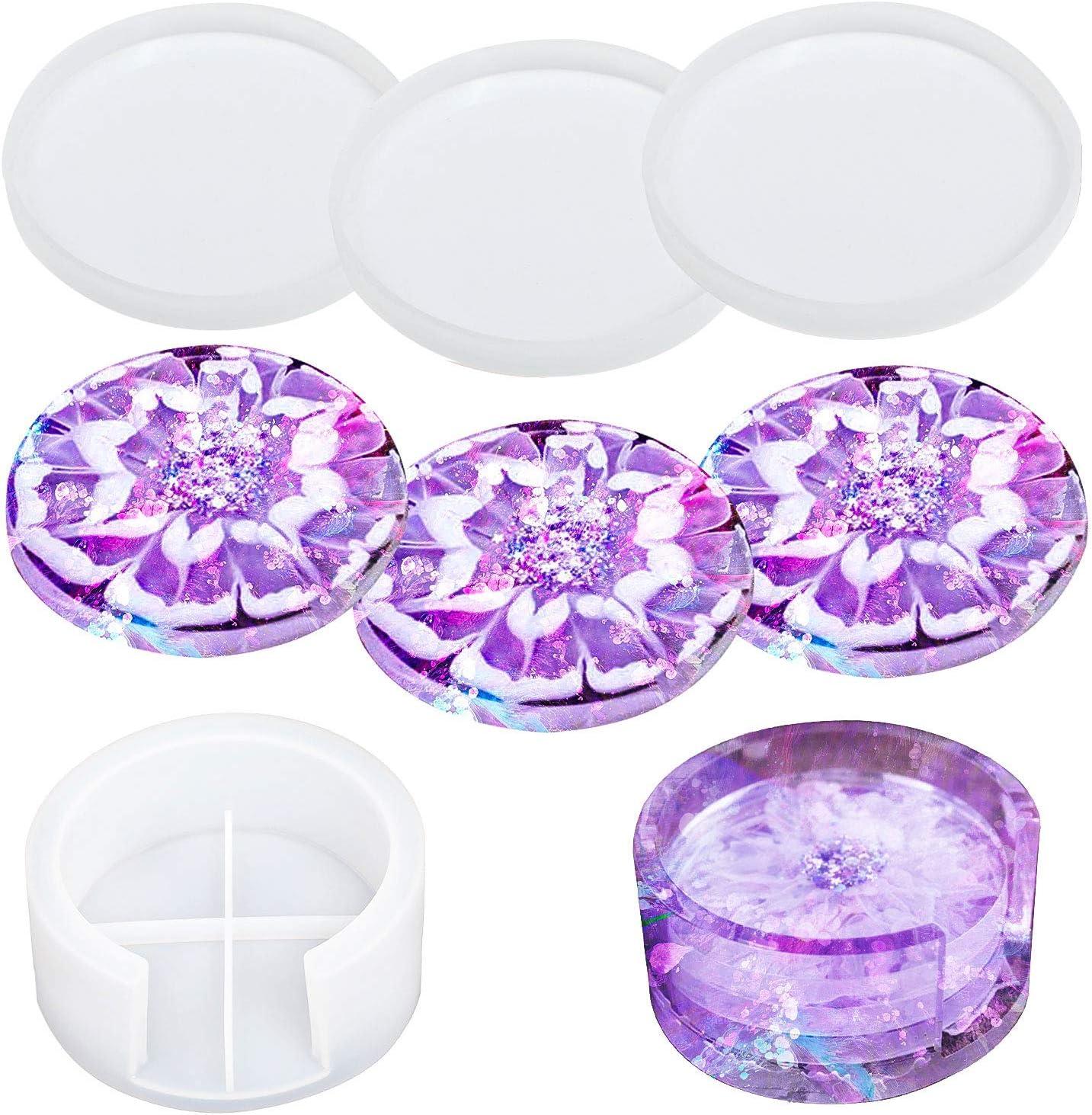 STSUNEU Coaster Molds for Resin, 4Pcs Resin Coaster Molds Kit