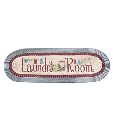 Collections Etc Braided Laundry Room Floor Runner Rug with Blue and Burgundy Border, 20  x 48 , Blue