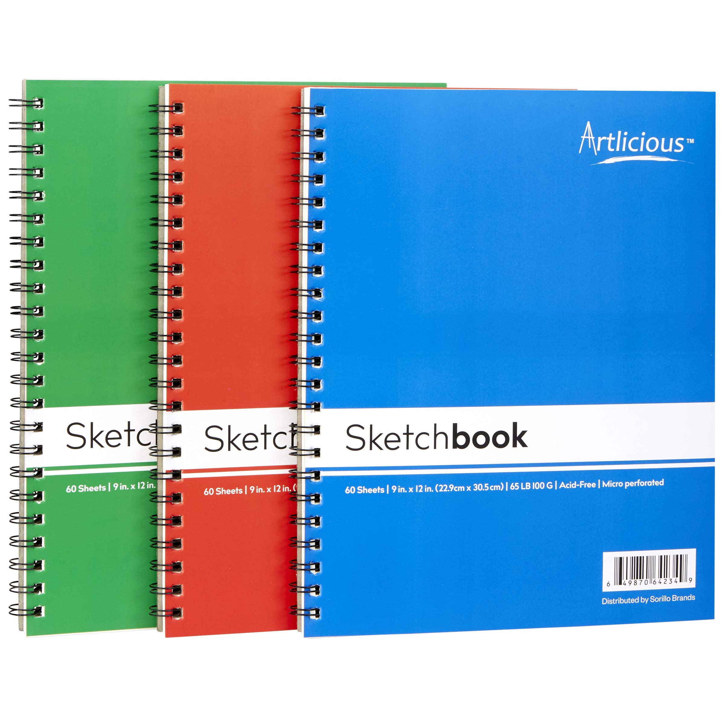 Artlicious - 3 Sketch Pads 9 in. x 12 in for Drawing, Coloring & Doodling (3 Sketch Books) by Artlicious