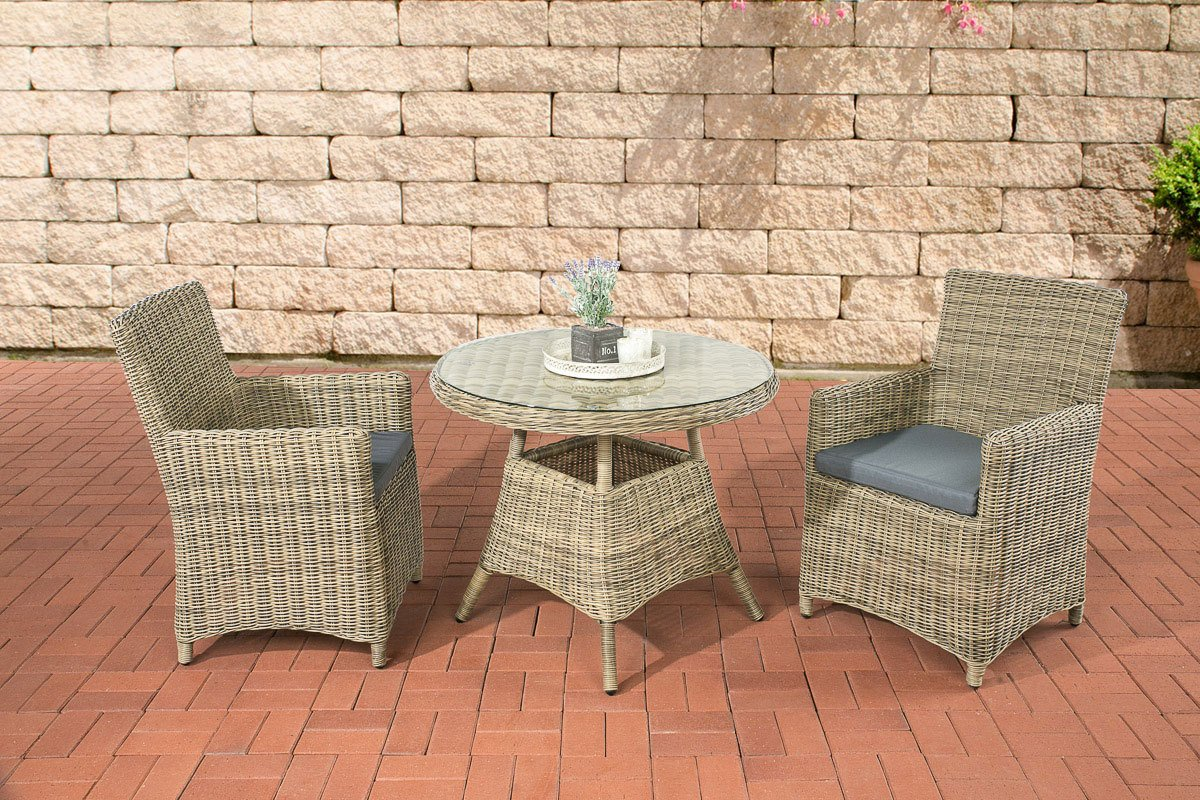 clp poly rattan sitzgruppe quito 5 mm rund geflecht alu gestell 2 sessel tisch rund 90 cm. Black Bedroom Furniture Sets. Home Design Ideas