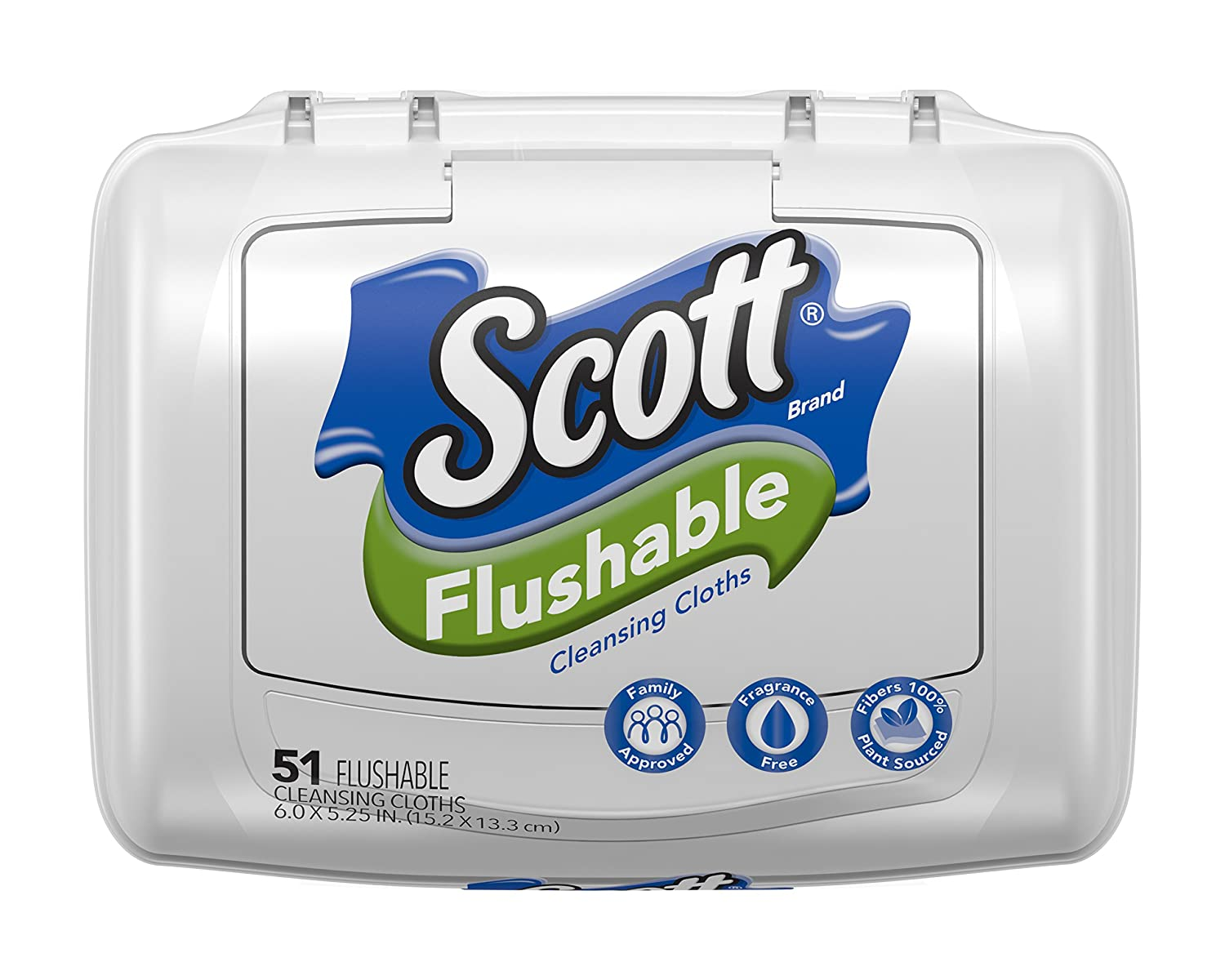 Scott Flushable Wipes, Fragrance-Free, 8 Tubs with 408 Wet Wipes Total (Pack of 8)