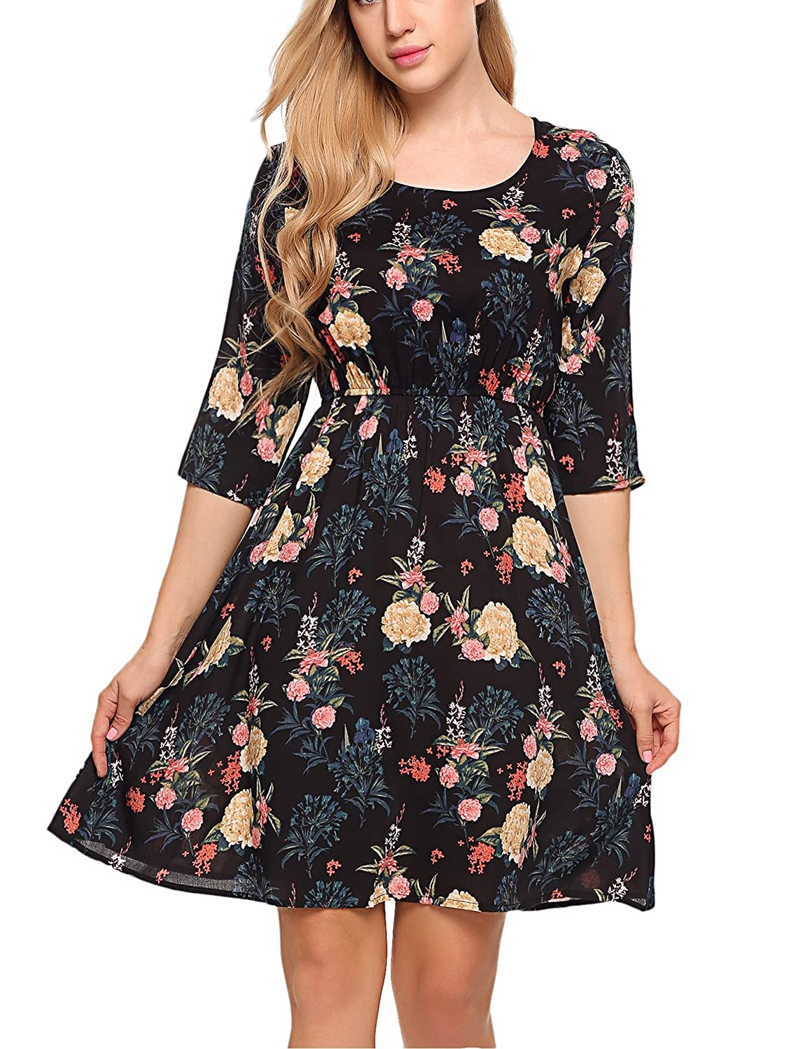 a15ee1d73 Beyove Women's Print Tunic Top Dress, 3/4 Sleeve Summer Casual T Shirt Midi  Dresses