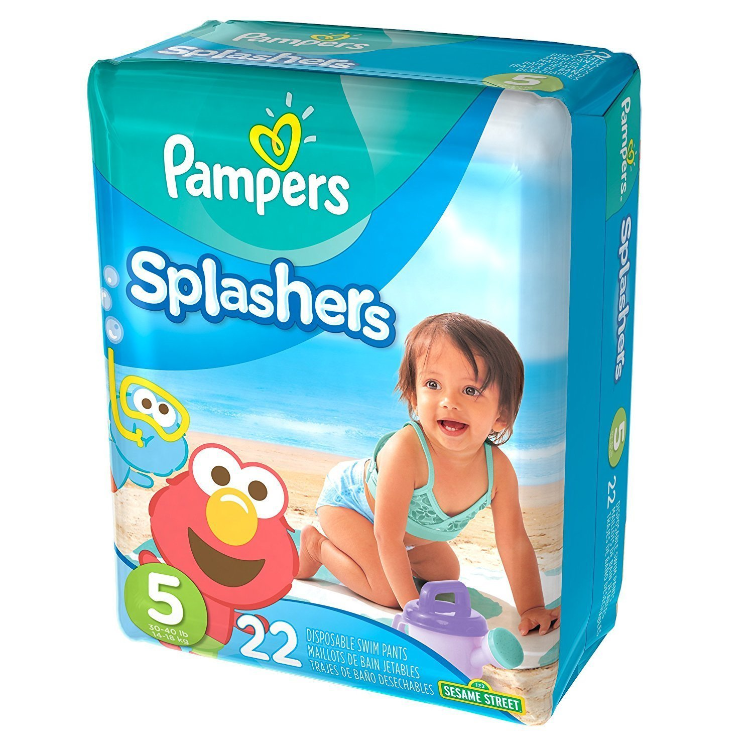 Amazon.com: Pampers Splashers Swim Diaper Sesame Street - Size 5 - 22 ct (Pack of 2, Total of 44 ct): Health & Personal Care