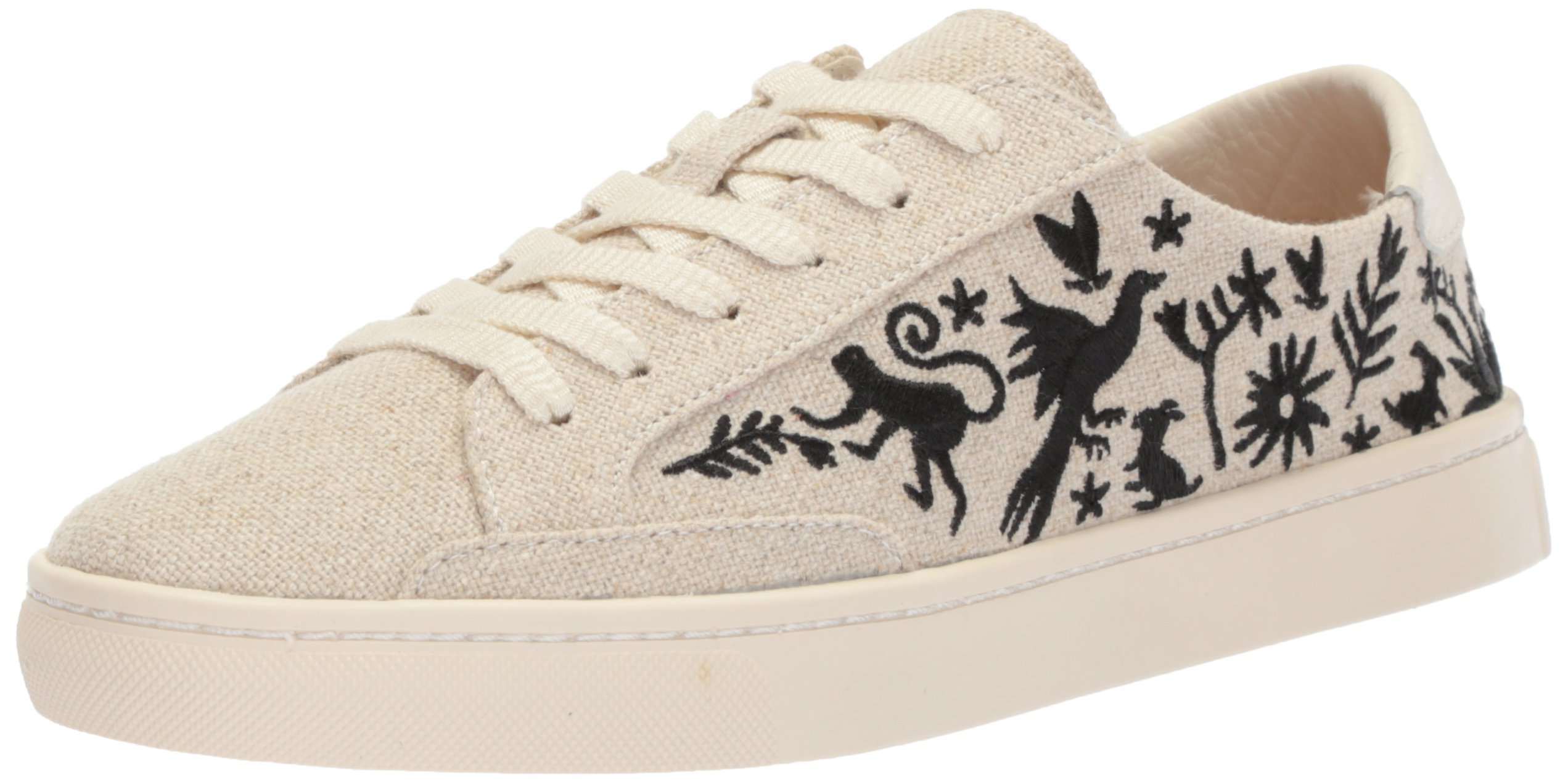 Soludos Women's Otomi Lace up Sneaker, Sand Black, 5 B US
