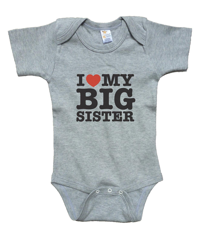 RoyalT Wardrobe ''I Love My Big Sister'' gray baby bodysuit unisex (3-6)