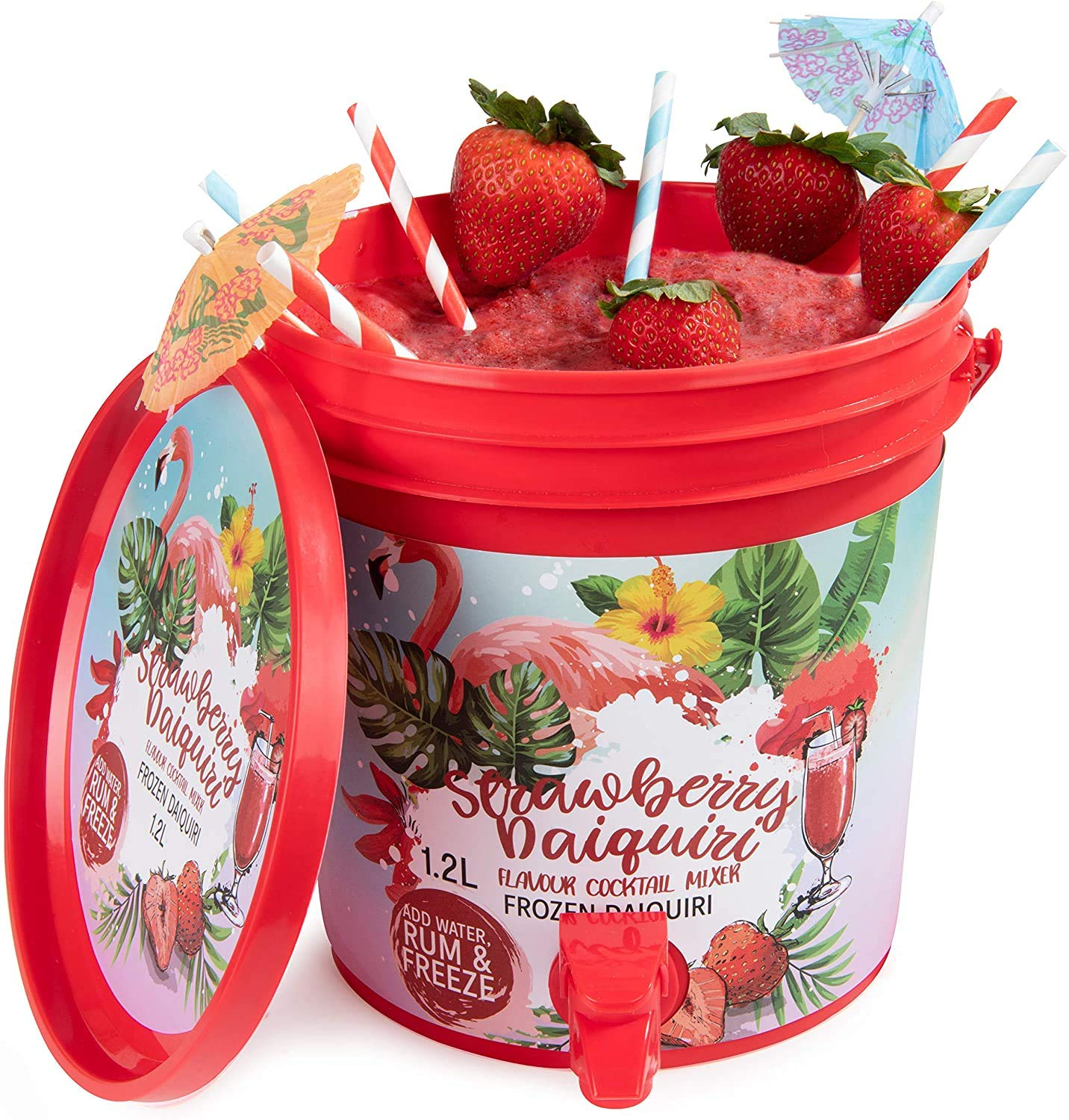 Thoughtfully Gifts, Strawberry Daiquiri Cocktail Bucket, Includes Daiquiri Cocktail Mixer and Cocktail Bucket with Front Spout, Just Add Water, Rum and Freeze! 3 Liters (Contains NO Alcohol)