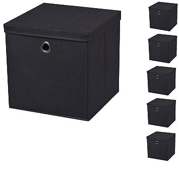 6 Pièce Noir Boîte Pliante Boxas 28 X 28 X 28 Cm En Tissu Boîte De Rangement Pliable Avec Couvercle Mit Deckel