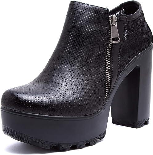 Scarpe Shoes Stivali tronchetto con tacco con lacci 6 cm