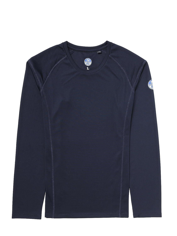 North Sails Männer-Tech T-Shirt L-S Polyester mit 4% Carbon-Faser und Behandelte