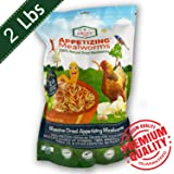 Dried Mealworms -2 LBS- 100% Natural Non GMO Mealworms -Food For Chicken- High Protein Mealworms for Bird, Duck Food…